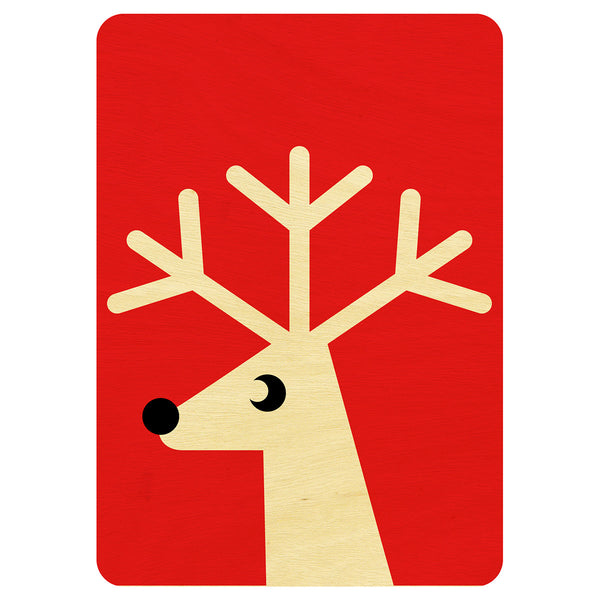 Red Reindeer Christmas wooden card