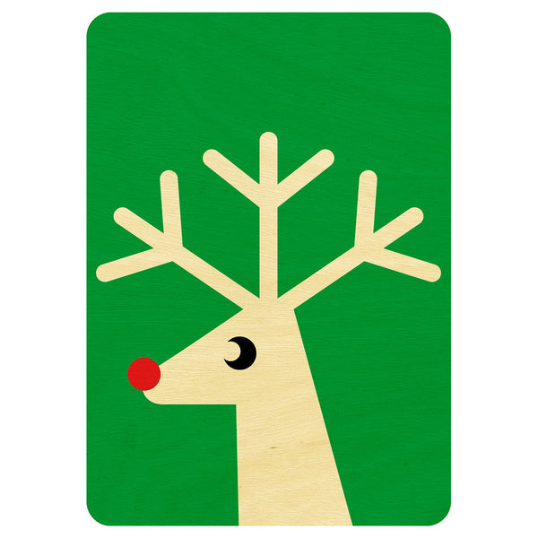 Green Reindeer Christmas wooden card