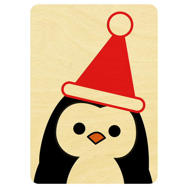 Mr Penguin Christmas wooden card