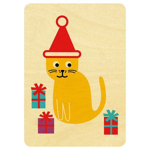 Cat Christmas wooden card