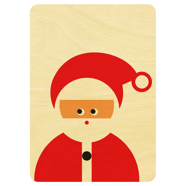 Santa Christmas wooden card