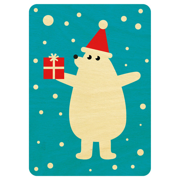 Mr Polar bear Christmas wooden card