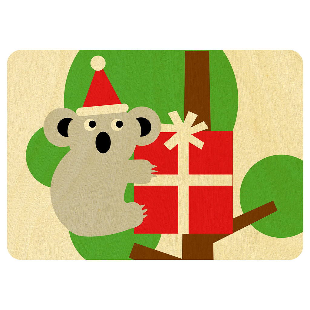 Koala Christmas wooden card