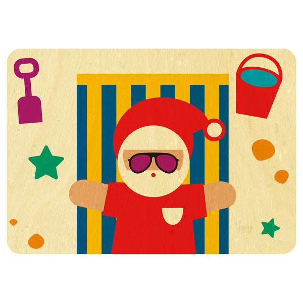 Santa on the beach Christmas wooden card