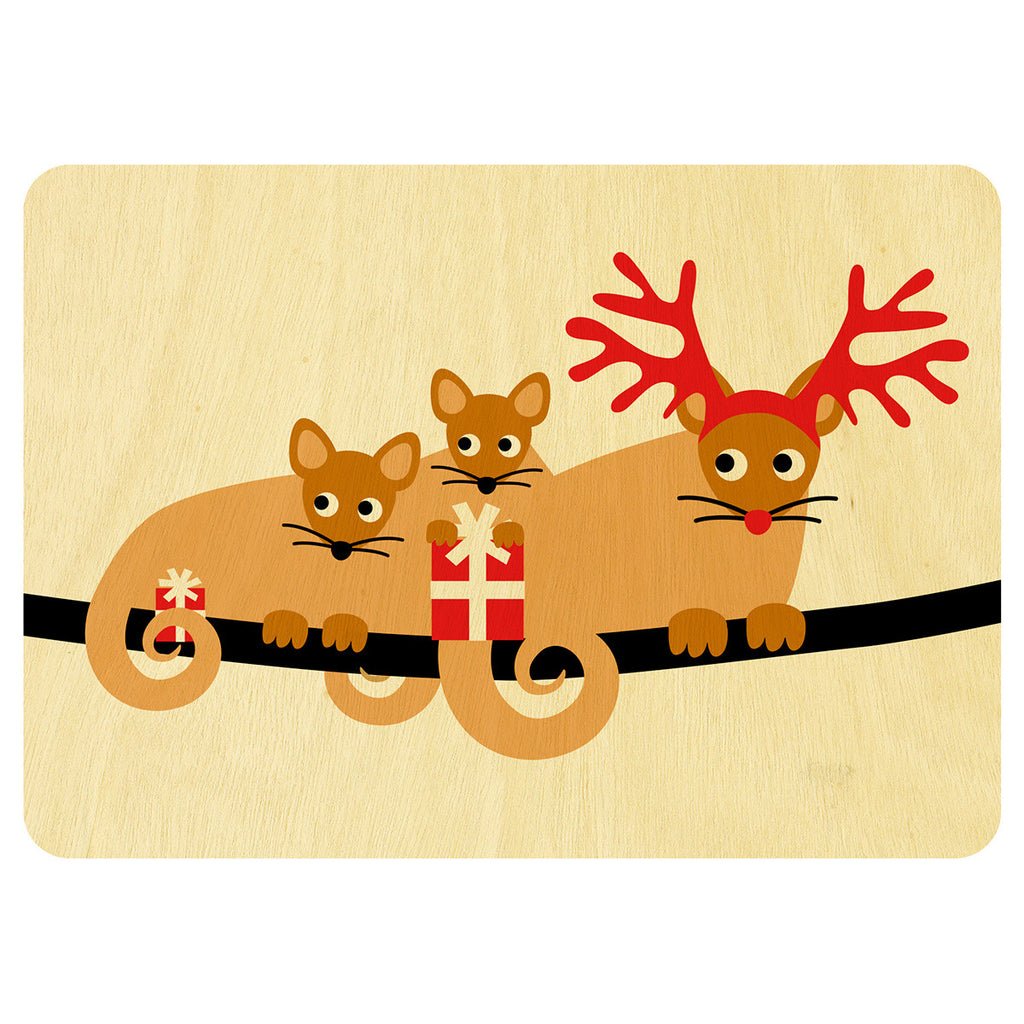 Ringtail possums Christmas wooden card
