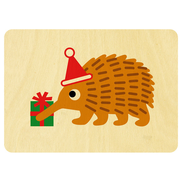 Echidna Christmas wooden card