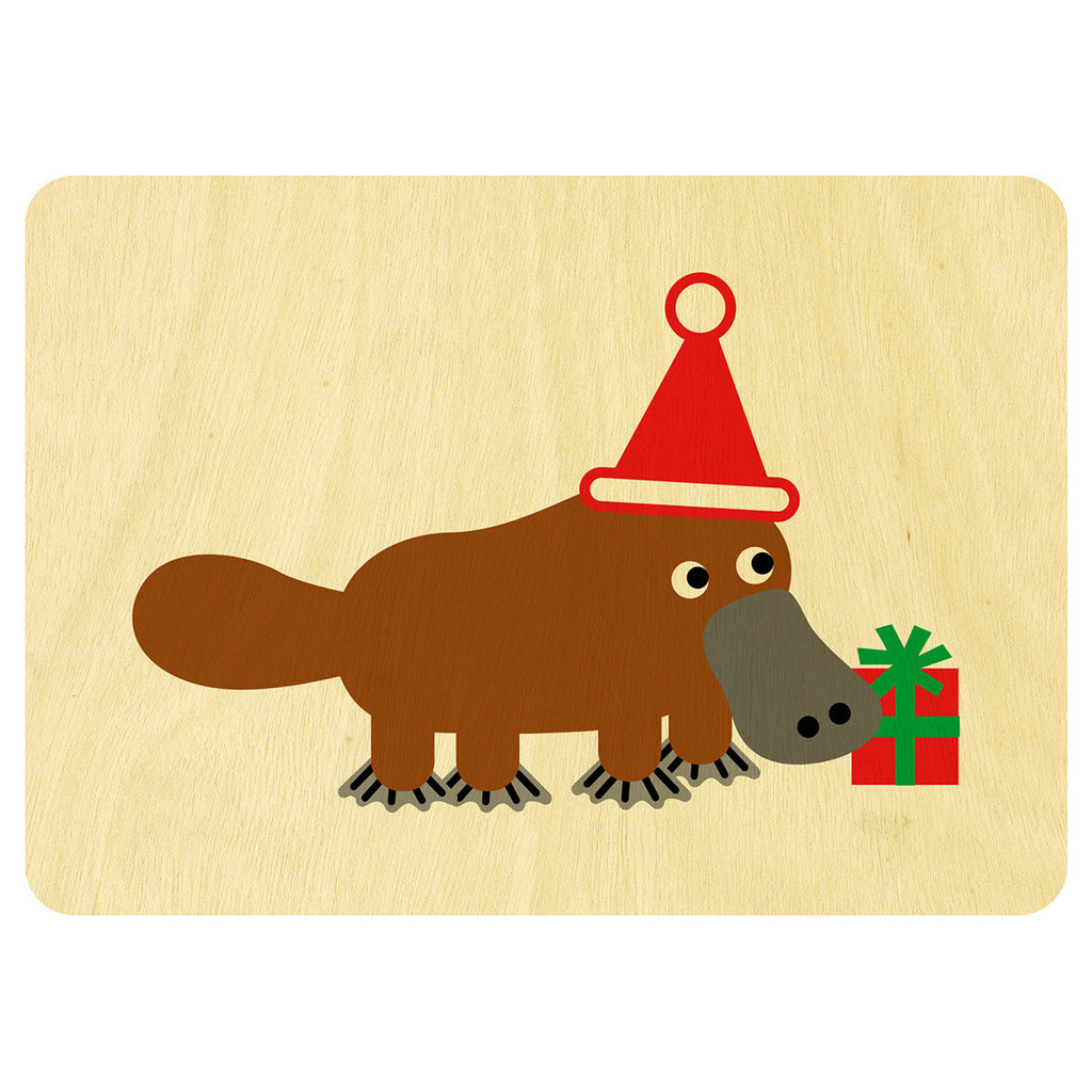 Platypus Christmas wooden card