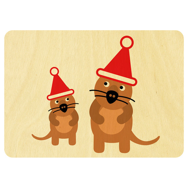 Quokka's Christmas wooden card