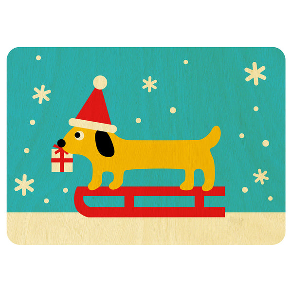 Sausage Dog Christmas wooden card