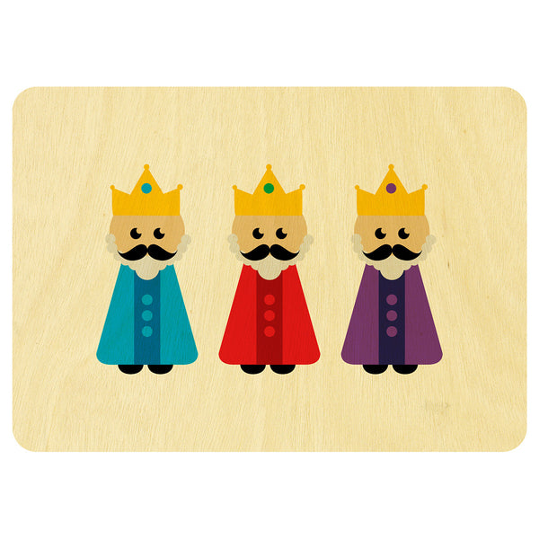 Three wise men Christmas wooden card