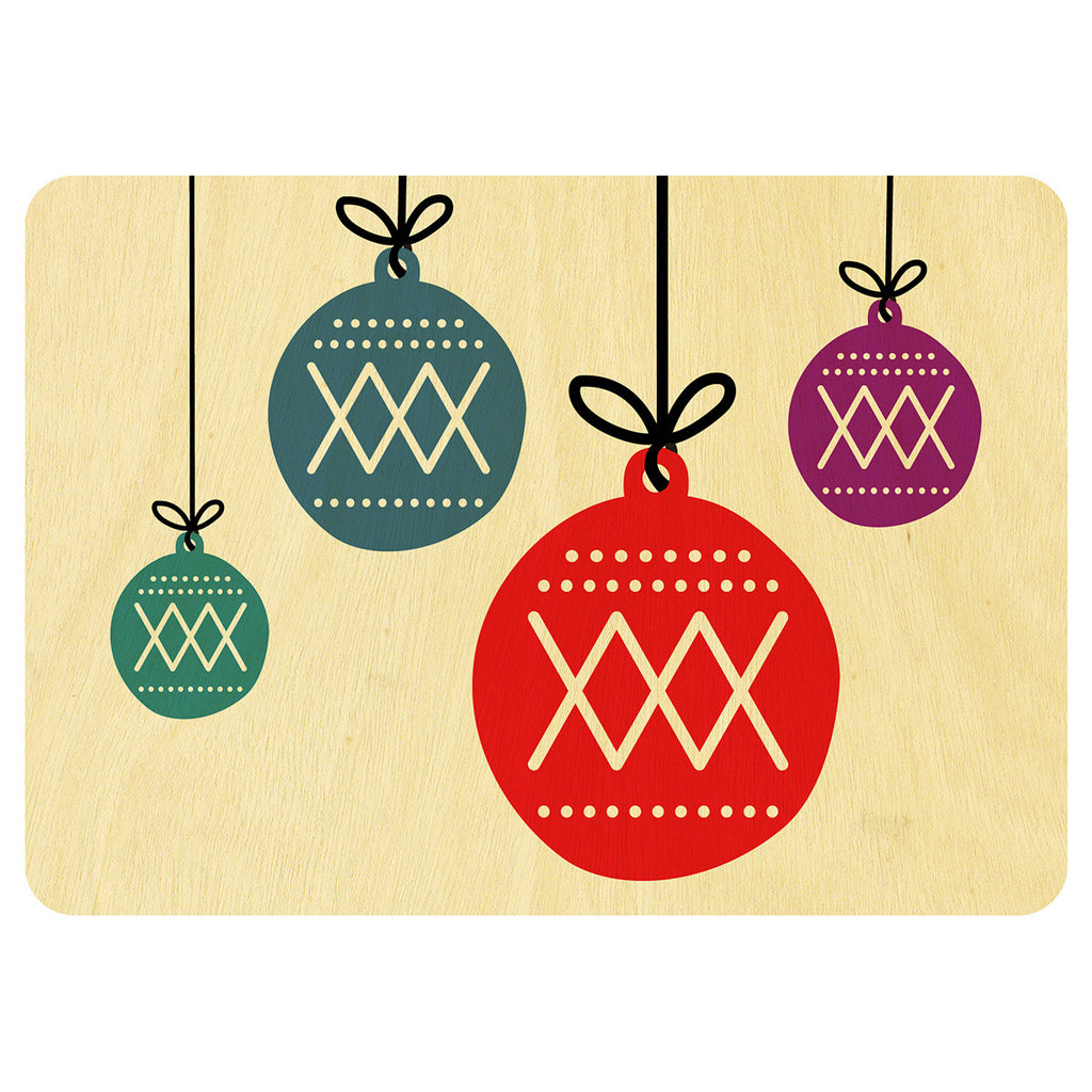 Baubles Christmas wooden card