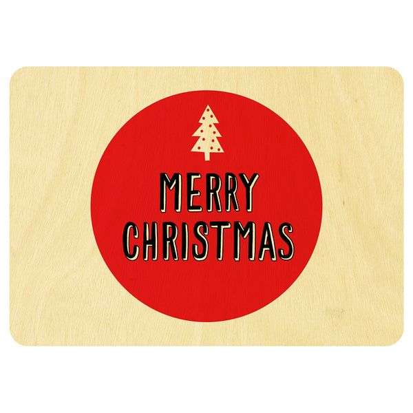 Red spot Christmas wooden card