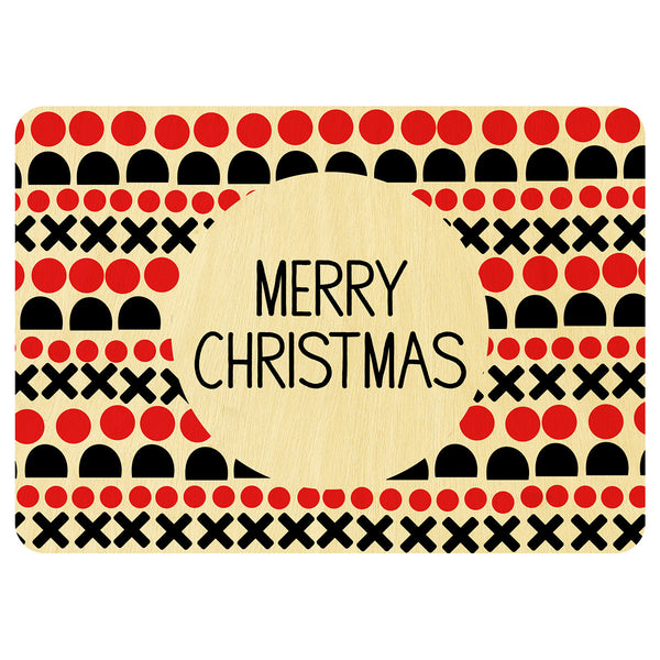 Crosses and noughts Christmas wooden card