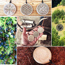 Flower of life Amulet, juniper wood Talisman, Magical necklace with powerful symbol