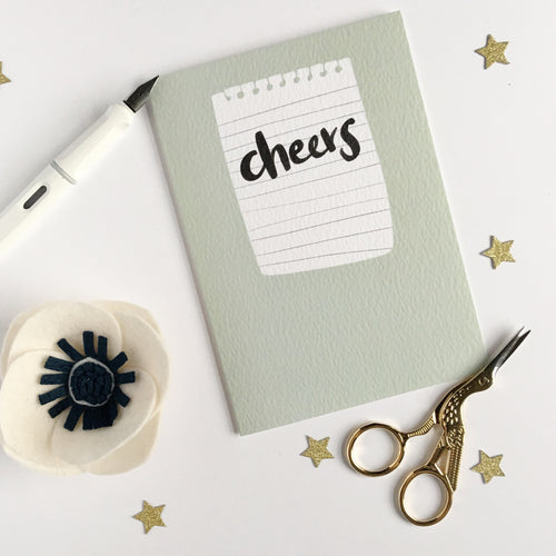 Cheers! Hand Lettered greetings card.