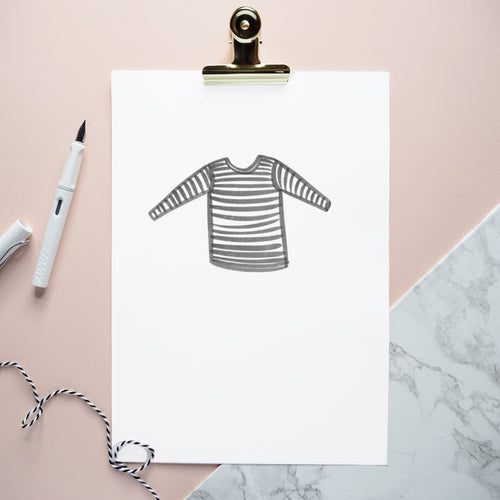 Striped tee watercolour print