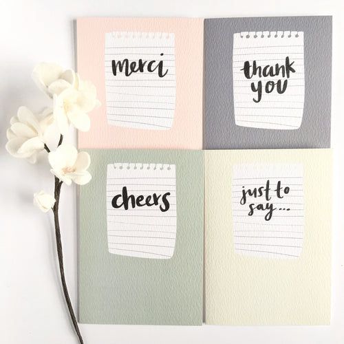 Thank you card set of four