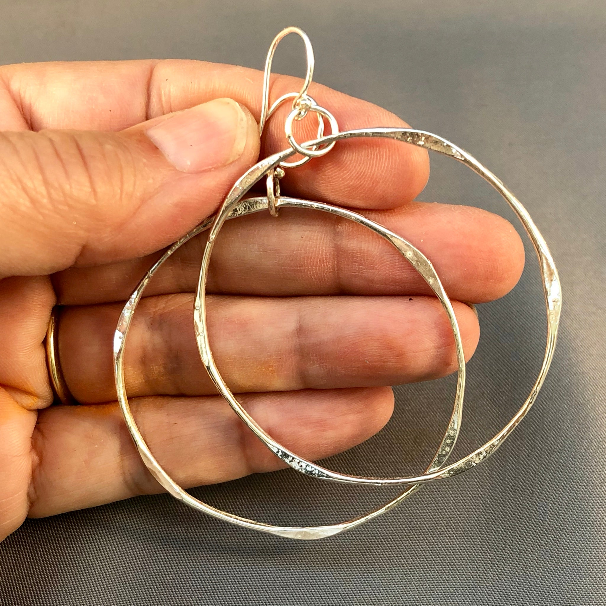 Large and light sterling hoops
