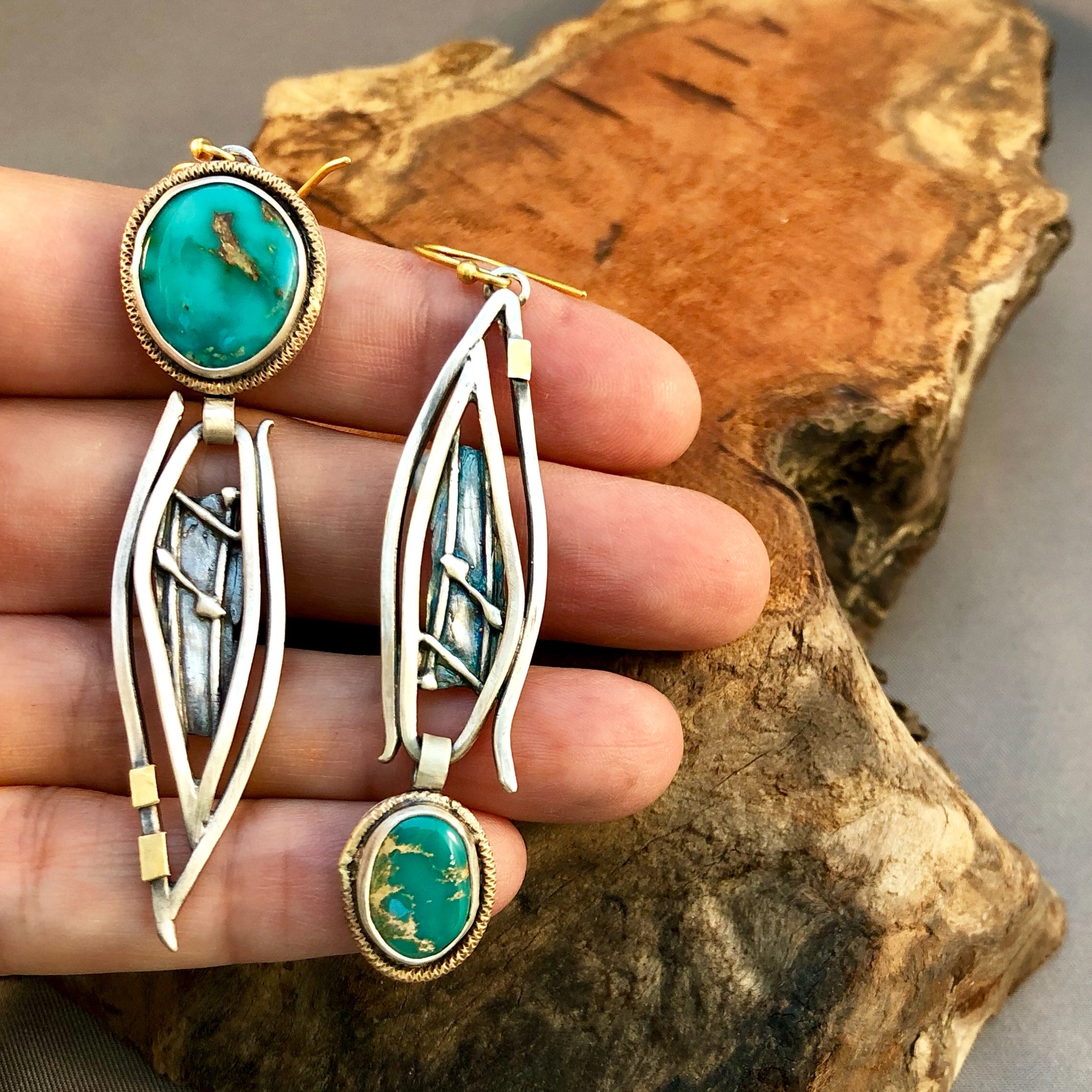 Asymmetrical Turquoise, Sterling and Gold Earrings
