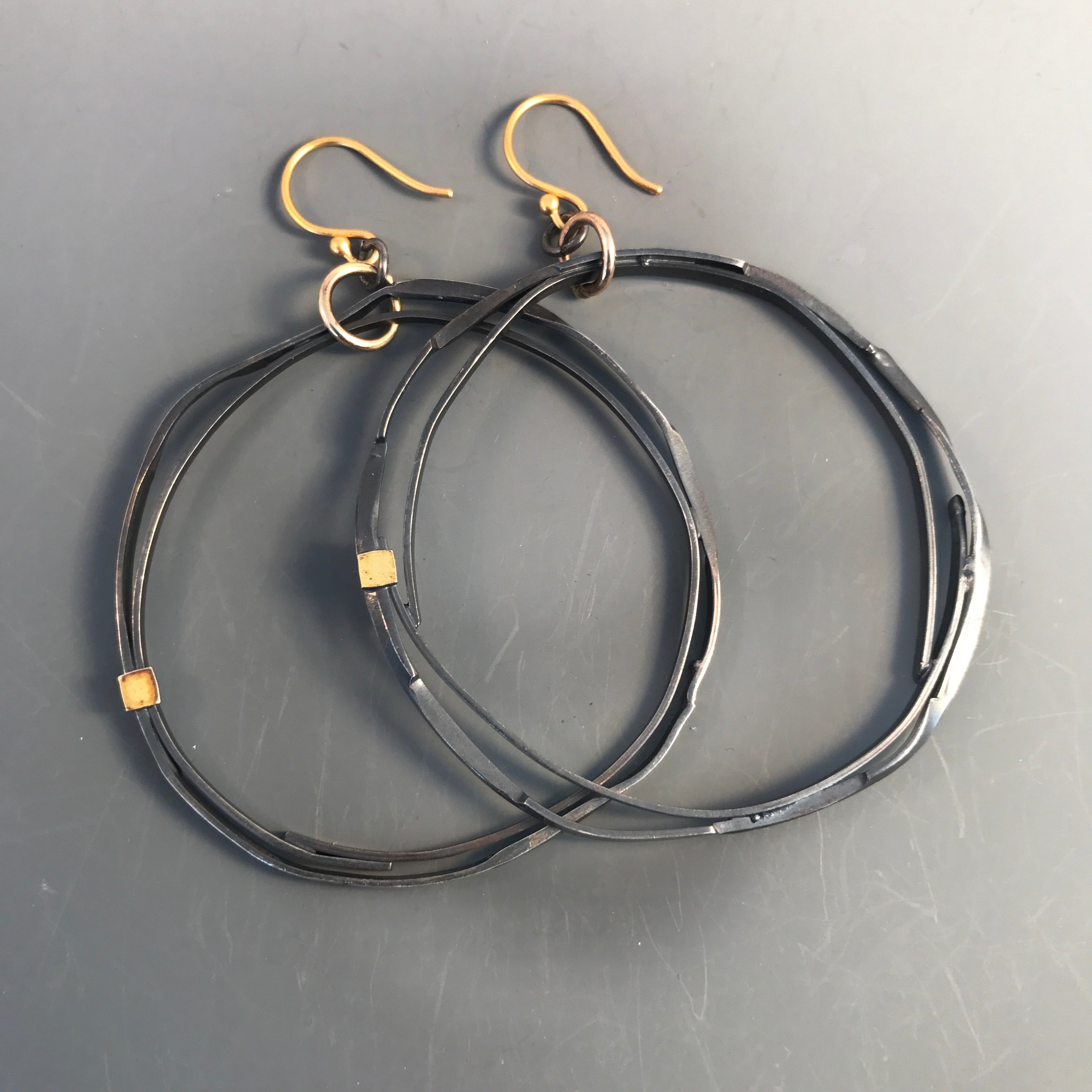 Double Trouble! Sterling Silver hoop earrings w 22k accent