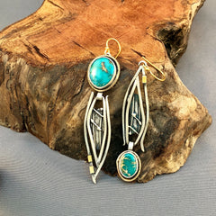 Asymetical Turquoise, Sterling and Gold Earrings