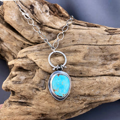 Sweet natural turquoise and silver necklace
