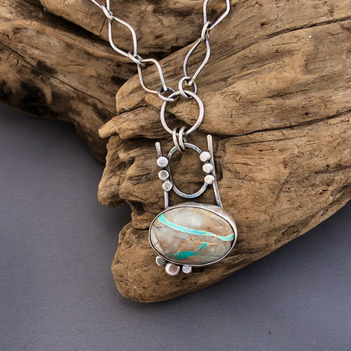 Rare ribbon turquoise and silver necklace