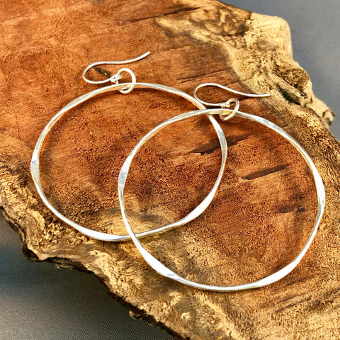 Silver Hoops on Sterling and Gold post