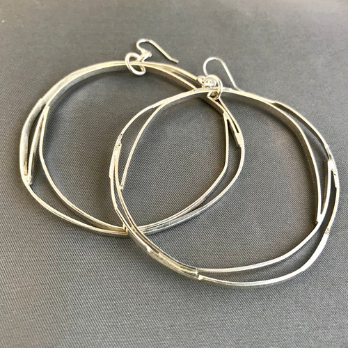 Large Sterling Silver Double Hoops