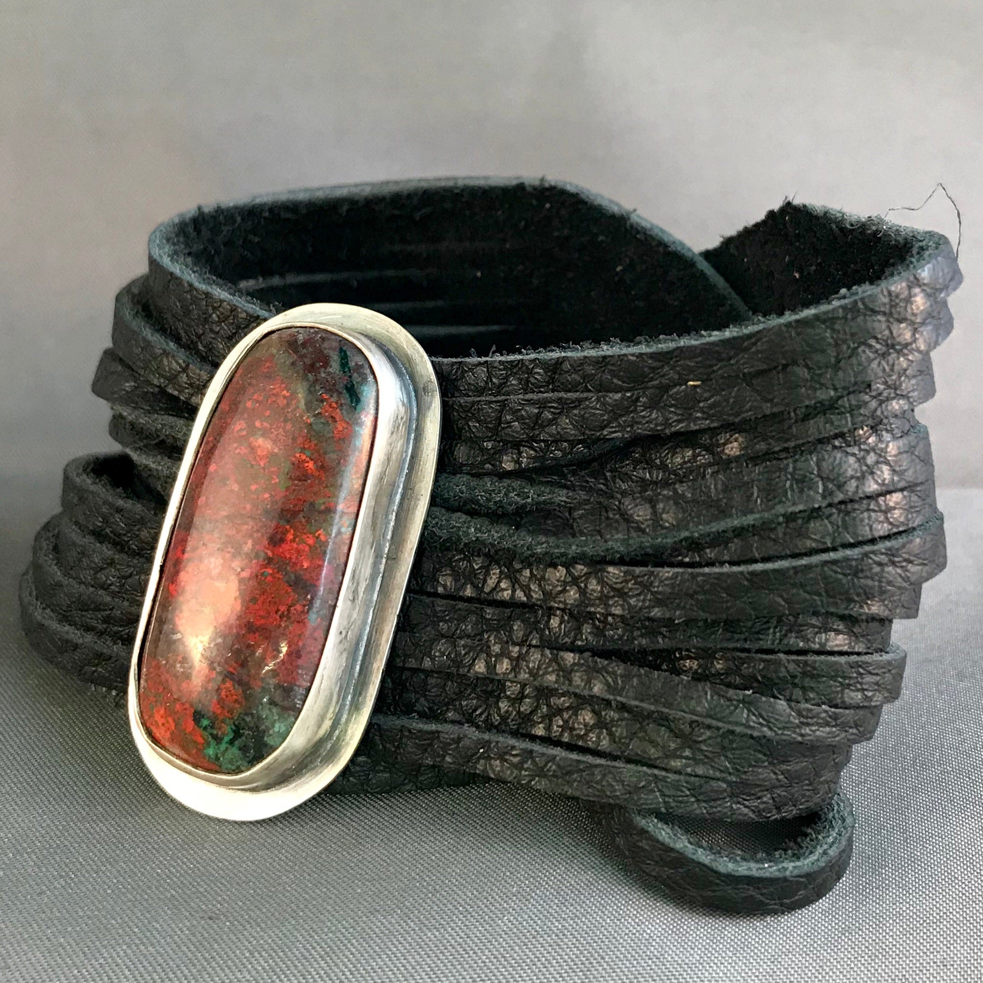 Sonora Sunrise Gemstone and shredded leather bracelet