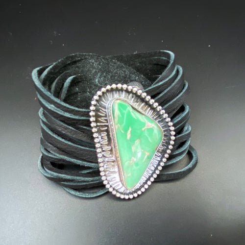 Large Utah Variscite Gemstone set in Sterling Silver on Leather Cuff