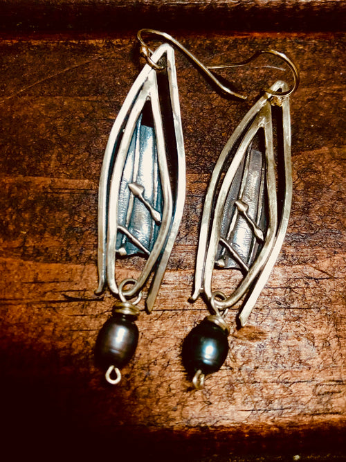Sterling and fresh water pearl earrings