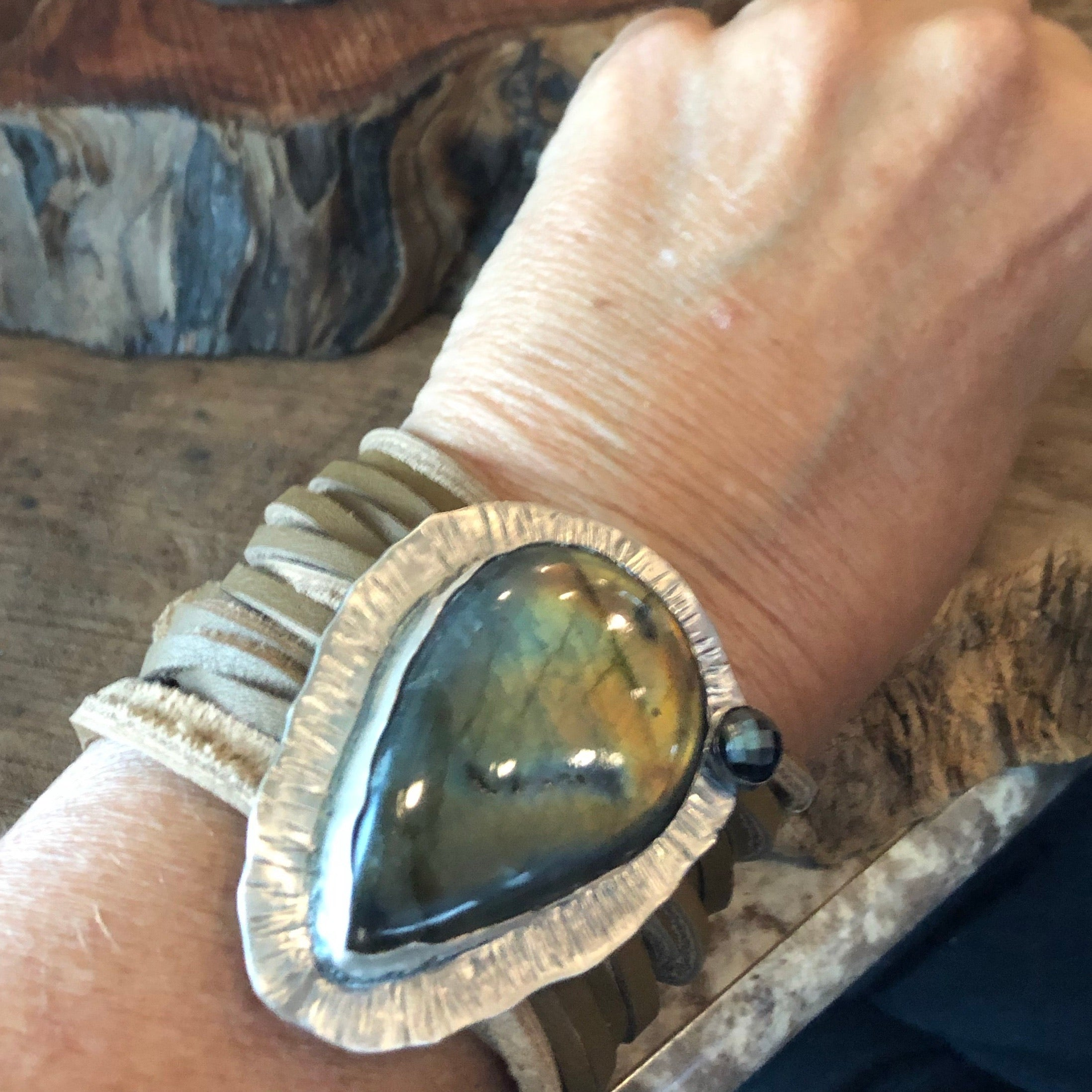 Large Labradorite and sterling silver leather bracelet