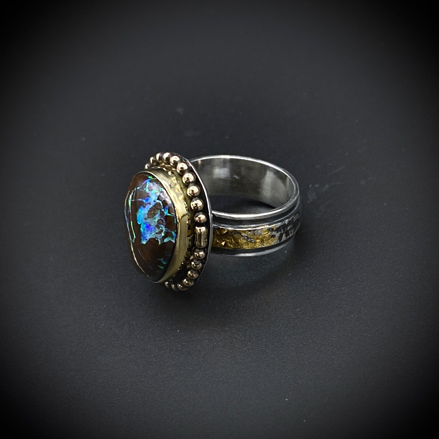 Boulder Opal and Gold Ring
