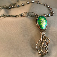 Octopus Cloisonné with Fresh Water Pearl and Sterling Necklace