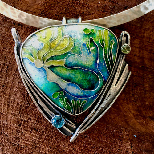Mermaid cloisonné necklace