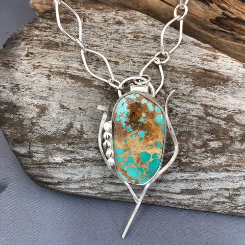 Natural Stone Mountain Turquoise and sterling necklace