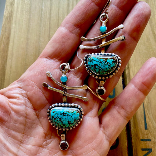 Fun, funky one of a kind artisan turquoise earrings