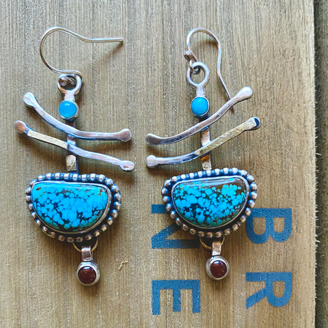 Turquoise Fan Sterling Earrings