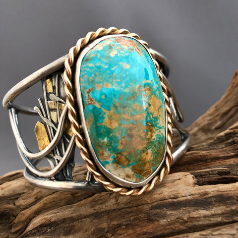 Royston Mine Ribbon Turquoise and Leather Bracelet