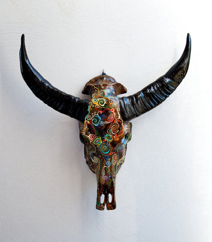 ERIN resin cow skull