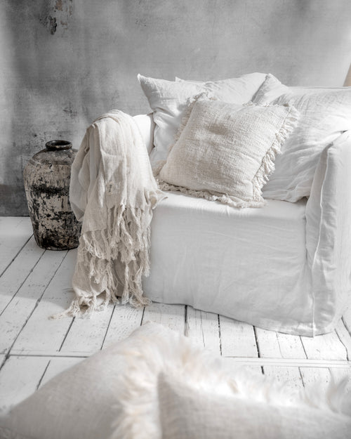 AMAL throw off white - throws - ARVA Living