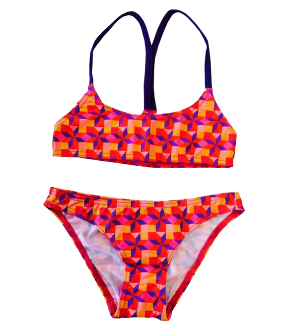 Women Swim Suit - Bikini Mini - Rombus (Print) - Top & Bottom