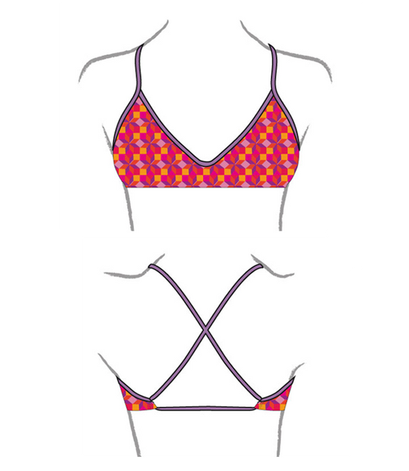 Women Swim Suit - Bikini - Rombus (Print) - Top Only