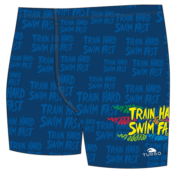 Men Jammer Full-Print - Train Hard, Swim Fast (Navy)