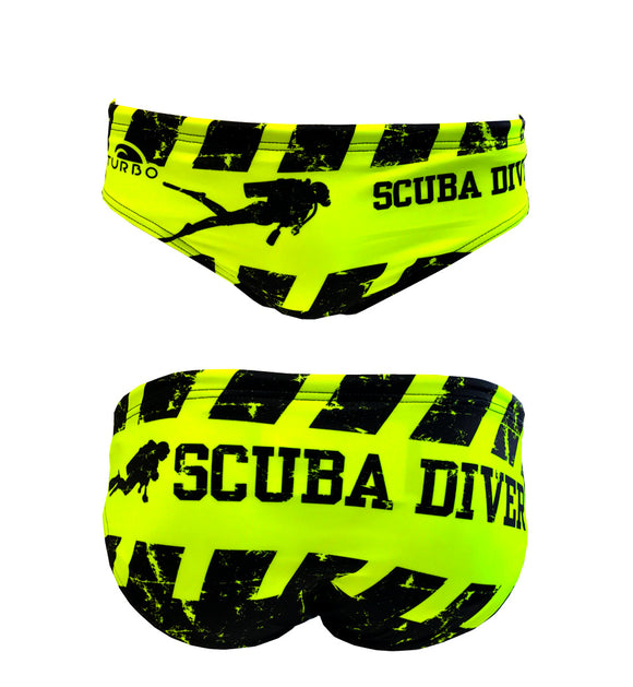 Men Swimming Trunks - Scuba Diver (Yellow)