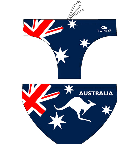Boys Swimming Trunks - Australia Kangaroo (Navy & White)