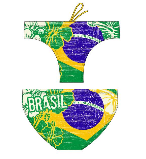Boys Swimming Trunks - Brazil Vintage 2013 (Yellow & Green)