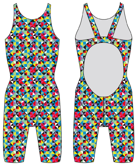 Girls Knee Suit - Wide Straps - Origami (Print)