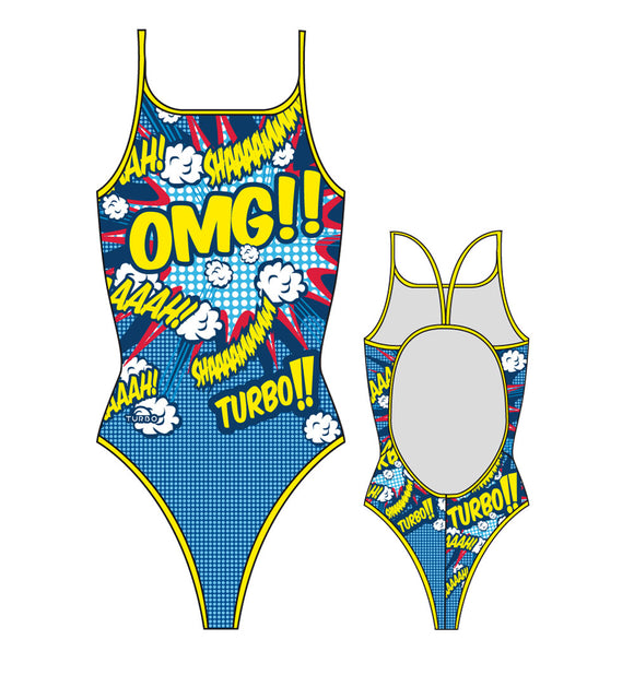 Girls Swim Suit - Thin Straps - Popstar OMG (Print)